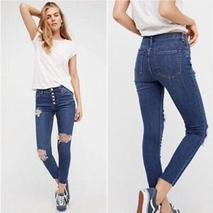 Free People Distressed High Rise Button Fly Skinny